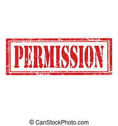 Permission-stamp - Grunge rubber stamp with word...