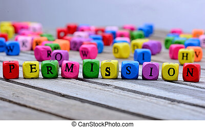 Permission word on table