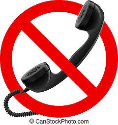 permitido, microteléfono, señal, no