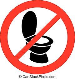 permitido, sinal, não, bacia toalete