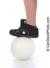 perna, de, a, jogador futebol, com, bola