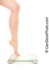 perna, de, um, mulher, fearing, escala peso