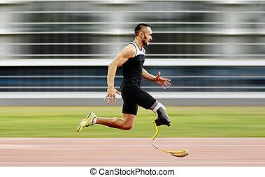 perna, incapacitado, amputee, atleta