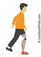 perna, isolado, ilustração, incapacitado, vetorial, artificial, homem, white.