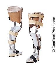 perna, protético, isolado, dois, fundo, branca, vista