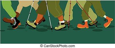 pernas, bandeira, hiking