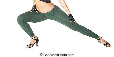 pernas, branca, mulher, fundo, dançar