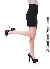 pernas, branca, mulher, isolado