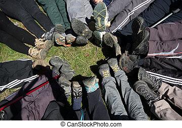 pernas, de, alpinista