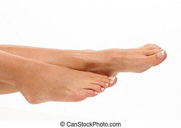 pernas, de, um, mulher, ligado, um, branca, experiência.,...