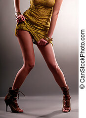 pernas, esbelto, mulher
