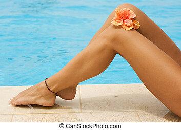 pernas, férias, natação, concept., piscina