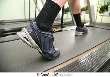 pernas masculinas, em, clube saúde