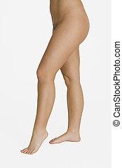 pernas, mulher, jovem, caucasiano