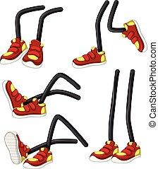 pernas, sapatos, vermelho
