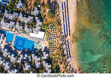 Pernera Beach in Agia Napa, Cyprus, top view