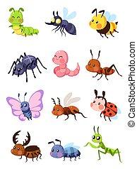 pernilongo, lagarta, cute, gafanhoto, vetorial, butterfly., mantis, spider., ladybug, mosca, jogo, formiga, insects., caricatura