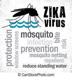 pernilongo, zika, palavra, nuvem, vírus