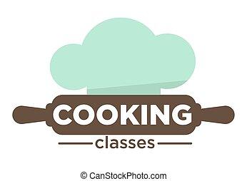 perno, cottura, isolato, chef, classi, rimbombante, cappello, icona