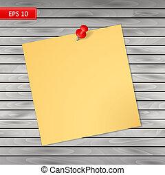 perno, legno, isolato, notare carta, fondo, rosso