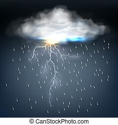 perno, nube, relámpago, lluvia