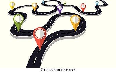 perno, vettore, sinuosità, puntatore, progresso, strada, concetto, illustration.