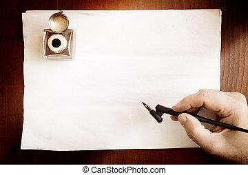 pero, kašna, rukopis