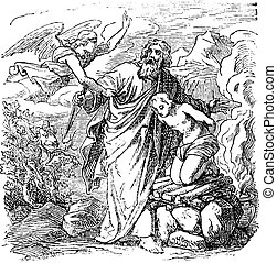 pero, parado, ángel, abraham, dibujo, vendimia, bíblico, sacrificio, isaac, yendo