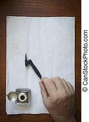 pero, rukopis, kašna