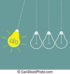 perpétuel, concept., jaune, motion., pendre, idée, quatre,...