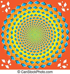 perpétuel, rotation, (op., illusion)