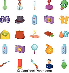 Perpetration icons set, cartoon style
