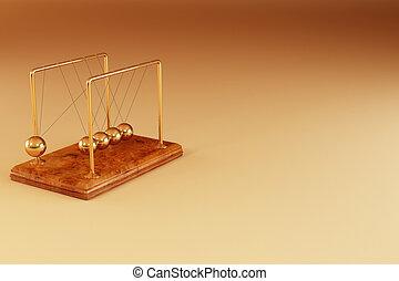 Pendulum on yellow background. 3d