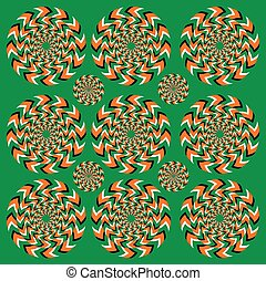 Perpetual rotation illusion. Hypnotic of rotation. Hypnotic show of rotation. Seamless background with bright optical illusions of rotation. Optical illusion Spin Cycle.