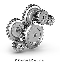 Perpetuum mobile : Gears isolated on white