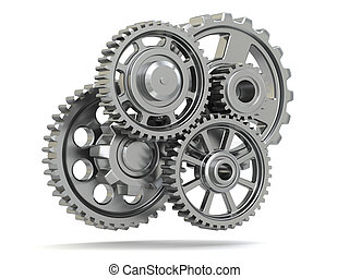 Perpetuum mobile. Metal gears on white isolated background.