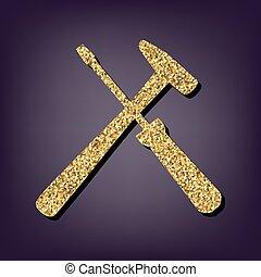 perple, arany-, mód, háttér, ikon