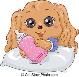 perrito, botella de leche