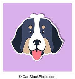 perrito, cara, de, perro montaña bernese, plano, diseño