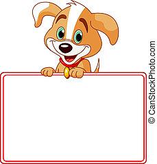 perrito, tarjeta, lugar