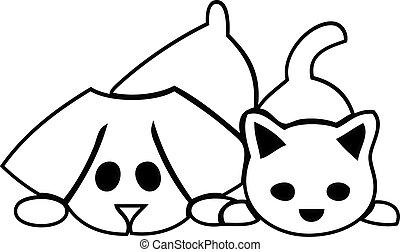 perritos, gato, perro, logotipo