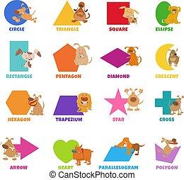 perritos, perros, formas, geométrico, conjunto