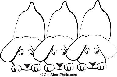 perritos, Siluetas, Perros, logotipo