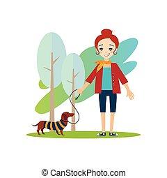 perro, actividades, ambulante, mujeres, diario,  vector, Ilustración, rutina