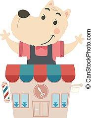 perro, barbería, ilustración