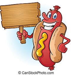 perro caliente, caricatura, tenencia, señal de madera
