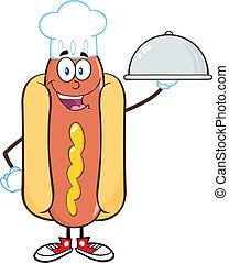 perro caliente, chef, con, un, cloche, fuente