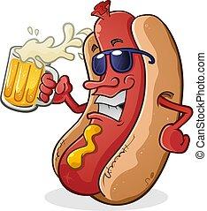 perro caliente, llevar lentes de sol, bebida, cerveza