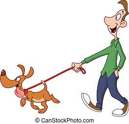perro caminante, hombre