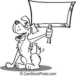 perro, caricatura, tenencia, señal